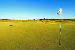 Golf green. Evening light and blue sky royalty free stock photos