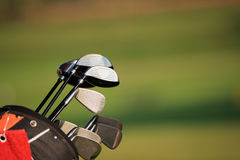 Golf green. Golf Bag on green grass stock image