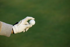 Golf green. Golfer with ball in hand on green background royalty free stock images