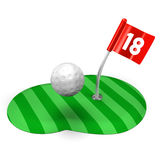 Golf Green And Ball.  Royalty Free Stock Images