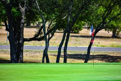 Golf Green in Central Texas lined with Trees with a lonestar Texas flag as golf flag stock image