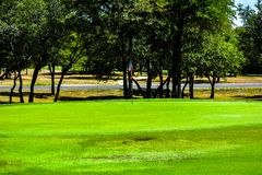Golf Green in Central Texas lined with Trees with a lonestar Texas flag as golf flag. Golf Green in Central Texas lined with Trees, Fairway under a bright blue stock images