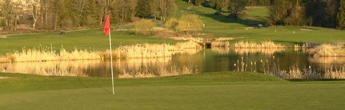 Golf Green Course Golfing BC. Panorama view of a golf course hole at sunset in British Columbia, Canada Royalty Free Stock Photos