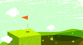 Golf. Green field, abstract landscape.  hole with flag royalty free illustration