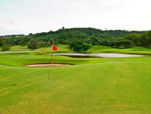 Golf green field with target flag 2 Stock Image