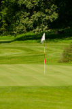 Golf Green With Flag. Golf Course in Forest - Golf Green With Flag Royalty Free Stock Photography