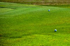 Golf Green in Central Texas with 2 golf balls stock photography