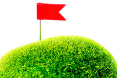 Golf Green Red Flag. Golf green with red flag Royalty Free Stock Photography