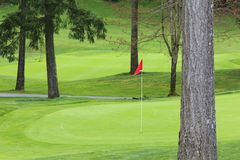 Golf Green with Red Pin stock photography