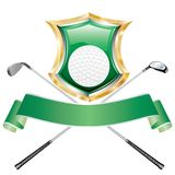 Golf green shield. Blank golf award with shield Royalty Free Stock Photo