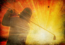 Golf on grunge. A Professional golfer swinging his club into sunset with ball flying towars the sun on grunge background Royalty Free Stock Photography