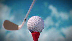 Golf Hit. Computer generated close-up wide-angle view of golf hit. Full HD