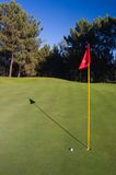 Golf Hole. With red flag, golf ball and shadow stock photos