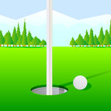 Golf Hole. A colorful illustration of a golf course and golf ball Stock Photo