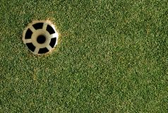 Golf hole. Area on right to add text for golf outings or advertisements stock photos