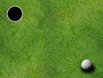 Golf hole and ball Stock Image