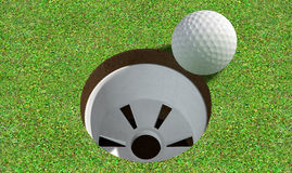 Golf Hole With Ball Approaching Royalty Free Stock Image