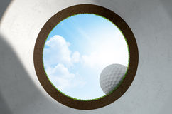 Golf Hole With Ball Approaching Royalty Free Stock Photos