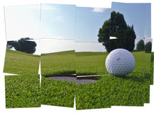 Golf hole and ball Royalty Free Stock Images