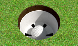 Golf Hole With Ball Inside Stock Photo