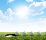 Golf Hole And Ball Putt Path Royalty Free Stock Images