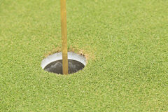 Golf hole and flag Royalty Free Stock Photography