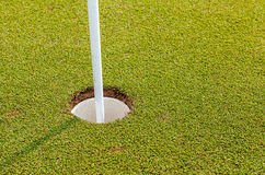 Golf hole and flag on green grass of golf course Royalty Free Stock Image