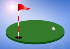 Golf hole with flag Stock Image