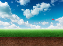 Golf hole in grass Royalty Free Stock Images