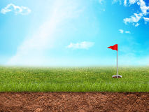 Golf hole in grass Stock Photos