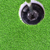 Golf hole with green grass. Royalty Free Stock Photos