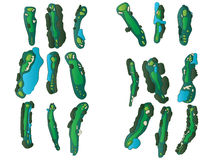 Golf Hole Layouts. Collection of golf course hole designs Royalty Free Stock Images