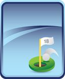 Golf hole in one on blue background Stock Photo