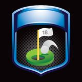 Golf hole in one in blue display Stock Image