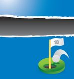 Golf hole in one on blue ripped banner Stock Images