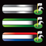 Golf hole in one on specialized banners. Specialized banners with a golf hole in one icon Stock Image