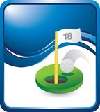 Golf hole in one on vertical blue wave backdrop