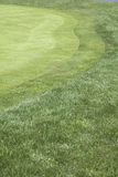 Golf hole on putting green. The practice putting green of a well-groomed golf course, showing the transition from normal grass to dwarf grass and the Royalty Free Stock Photo