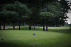 Golf hole in Québec Canada. Quiet on the golf course. Tranquility for sure Royalty Free Stock Photography