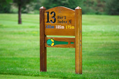 Golf hole sign. On the golf field - Ireland Stock Image