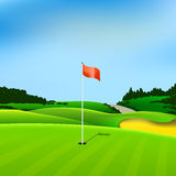 Golf hole vector green tee background. Illustration with flag and trees Royalty Free Stock Image