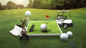 Golf icon, golf bag, field, course, golf cart.golf clubs. stock video footage