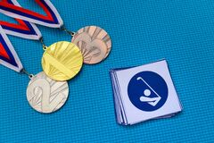 Golf icon and medal set, gold silver and bronze medal, blue ba. Original wallpaper for summer olympic game in Tokyo 2020
