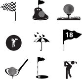 Golf icon set on black Royalty Free Stock Image