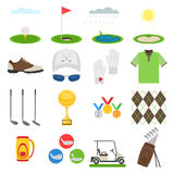 Golf icon set. Sports uniform, equipments with elements for mobile concepts.  Vector illustration collection infographic  pictogram isolated on white Royalty Free Stock Photo
