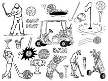 Golf icons. Hand made drawing of various golf objects Stock Images