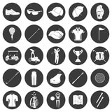 Golf icons design over white background. Golf game sport and activity icons set isolated  illustration. Silhouettes, symbols and logos, accessories, equipment Royalty Free Stock Photography