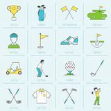 Golf Icons Flat Line Royalty Free Stock Image