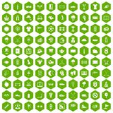 100 golf icons hexagon green. 100 golf icons set in green hexagon isolated vector illustration Royalty Free Stock Images