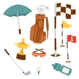 Golf icons hobby equipment cart player golfing sport symbol flag hole game elements vector illustration. Golf icons hobby equipment cart player golfing sport Royalty Free Stock Image